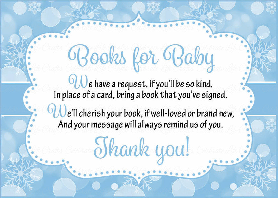 Books for Baby Invitation Inserts for Baby Shower Winter Baby