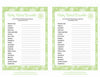 Baby Word Scramble - Printable Download - Green Bokeh Winter Baby Shower Game - B22003