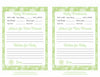 Prediction & Advice Cards - Printable Download - Green Bokeh Winter Baby Shower Activity - B22003