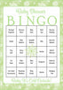 Winter Baby Bingo Cards - Printable Download - Prefilled - Baby Shower Game  - Green Bokeh