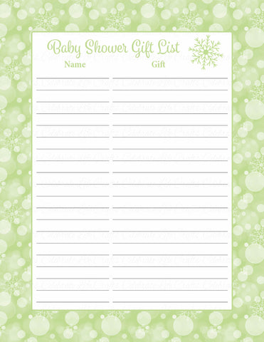 Baby Shower Gift List Set - Printable Download - Green Bokeh Winter Baby Shower Decorations - B22003