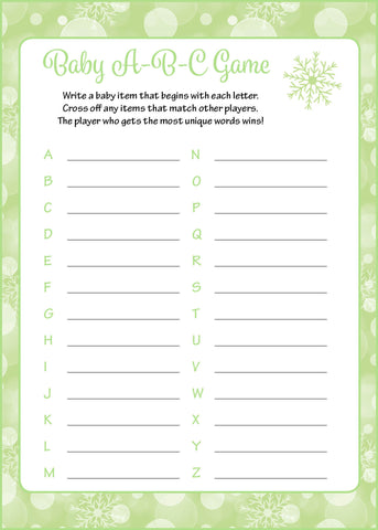 Baby ABC Game - Printable Download - Green Bokeh Winter Baby Shower Game - B22003
