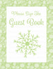 Baby Shower Guest List Set - Printable Download - Green Bokeh Winter Baby Shower Decorations - B22003