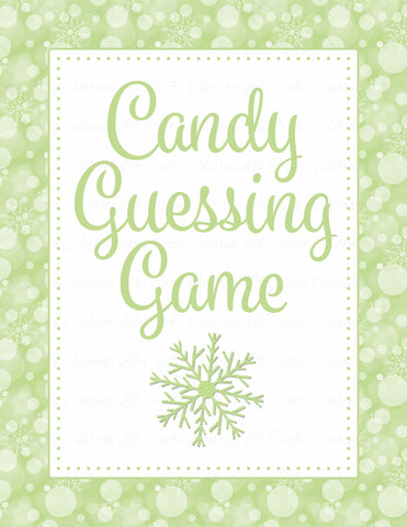 Candy Guessing Game - Printable Download - Green Bokeh Winter Baby Shower Game - B22003