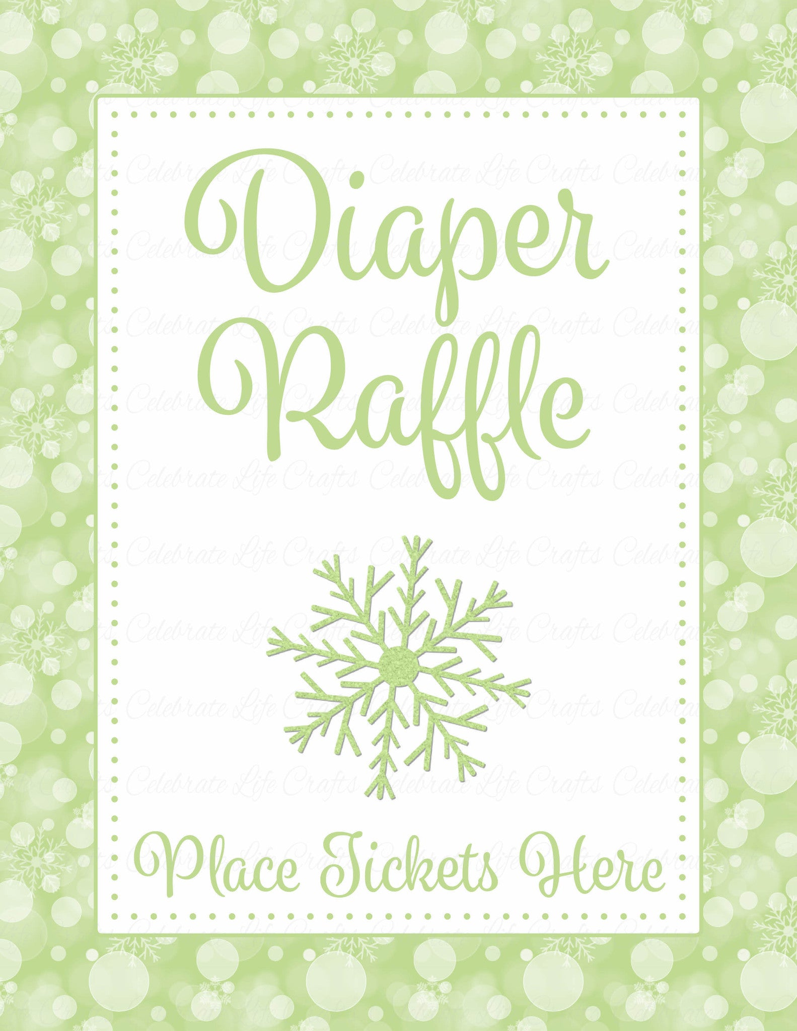 Diaper Raffle Tickets for Baby Shower - Winter Baby Shower Theme for ...