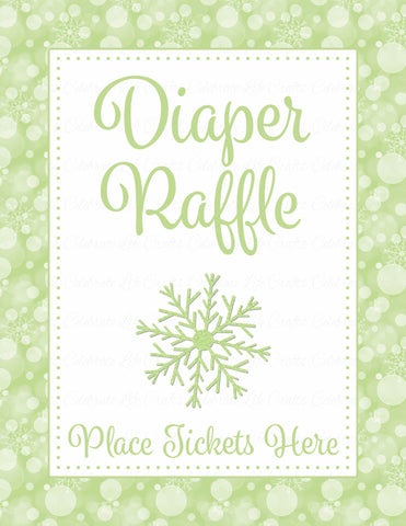 Diaper Raffle Tickets - Printable Download - Green Bokeh Winter Baby Shower Invitation Inserts - B22003
