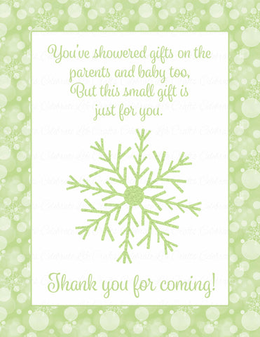 Thank You Favor Sign - Printable Download - Green Bokeh Winter Baby Shower Decorations - B22003
