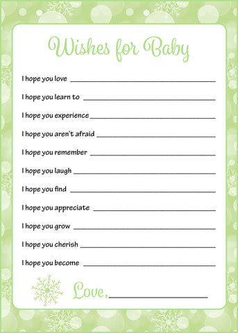 Wishes for Baby Cards - Printable Download - Green Bokeh Winter Baby Shower Activity - B22003
