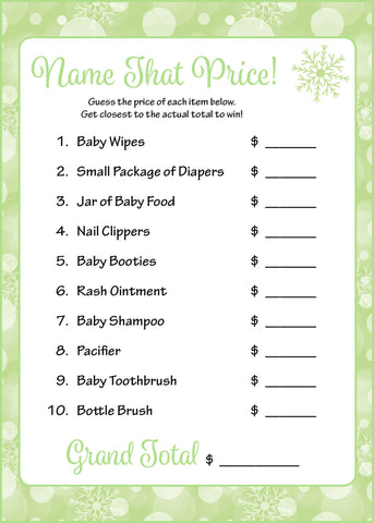 Name That Price Game - Printable Download - Green Bokeh Winter Baby Shower Game - B22003