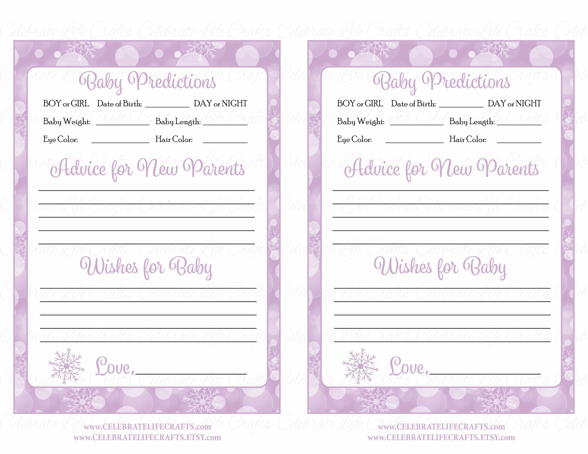 ... Prediction & Advice Cards - Printable Download - Purple Bokeh Winter  Baby Shower Activity - B22004