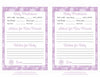 Prediction & Advice Cards - Printable Download - Purple Bokeh Winter Baby Shower Activity - B22004