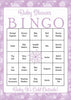 Winter Baby Bingo Cards - Printable Download - Prefilled - Baby Shower Game for Girl - Purple Bokeh