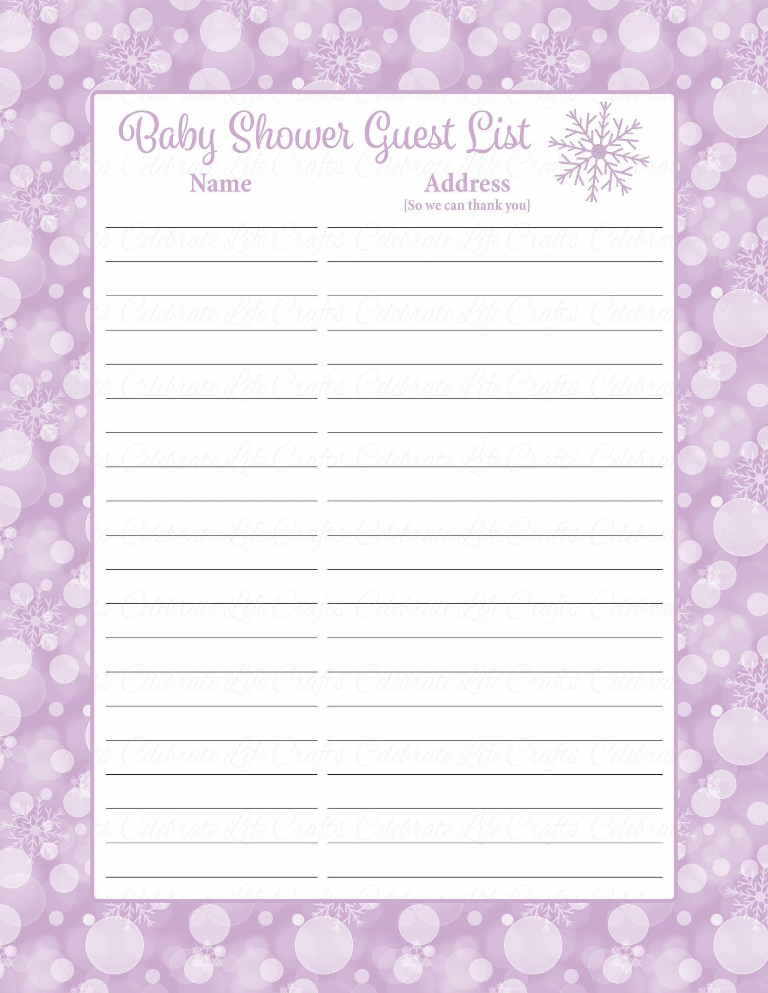 photograph regarding Free Printable Baby Shower Guest Sign in Sheet called Child Shower Visitor Listing Fastened - Printable Down load - Pink Bokeh Wintertime Youngster Shower Decorations - B22004
