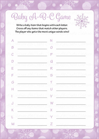 Baby ABC Game - Printable Download - Purple Bokeh Winter Baby Shower Game - B22004