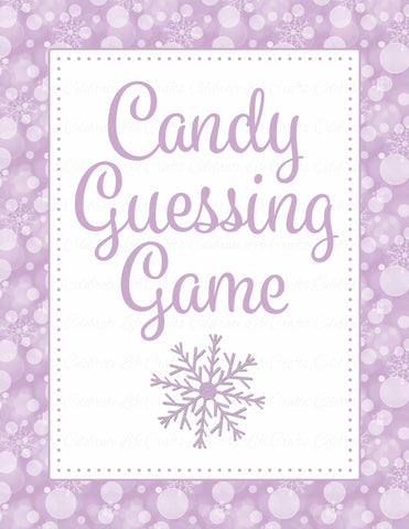 Candy Guessing Game - Printable Download - Purple Bokeh Winter Baby Shower Game - B22004