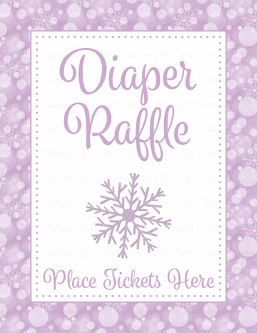 Diaper Raffle Tickets - Printable Download - Purple Bokeh Winter Baby Shower Invitation Inserts - B22004
