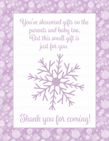 Thank You Favor Sign - Printable Download - Purple Bokeh Winter Baby Shower Decorations - B22004