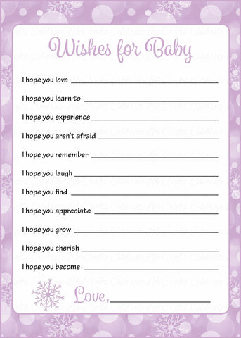 Wishes for Baby Cards - Printable Download - Purple Bokeh Winter Baby Shower Activity - B22004