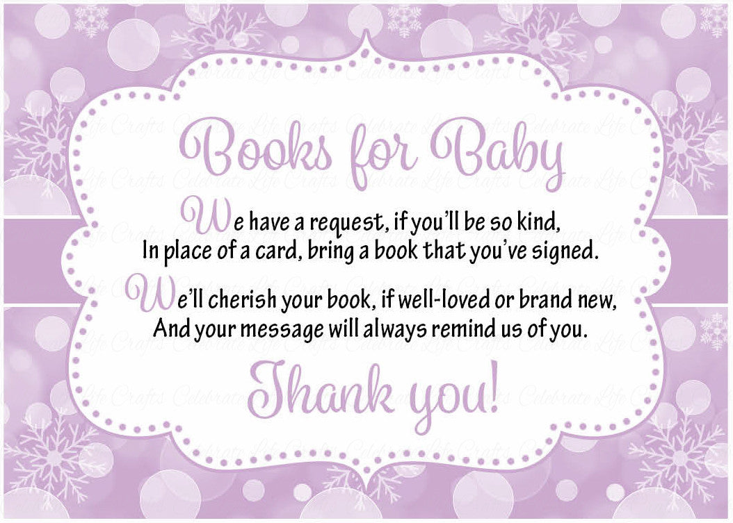 Books for Baby Invitation Inserts for Baby Shower - Winter Baby ...