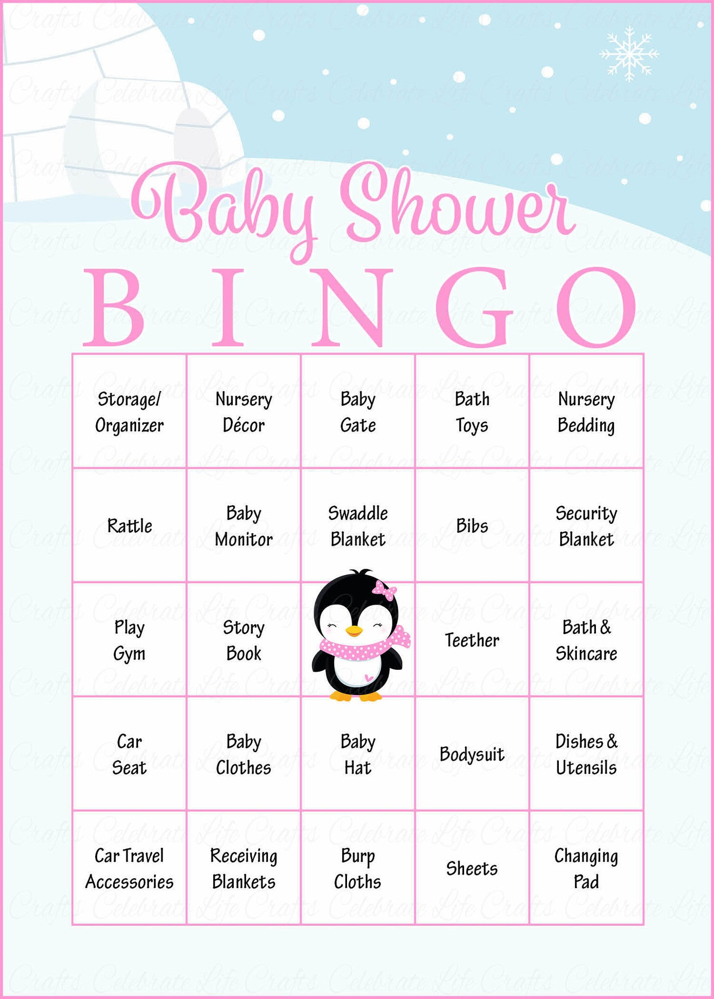 image relating to Winter Bingo Cards Free Printable identified as Wintertime Youngster Bingo Playing cards - Printable Obtain - Prefilled - Little one Shower Match for Female - Purple Penguin