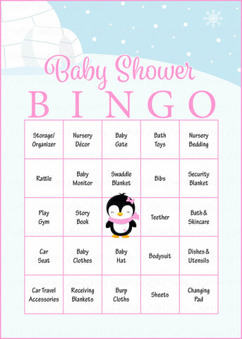 f5268bd7694df Winter Baby Shower Game Download for Girl | Baby Bingo – Celebrate Life  Crafts