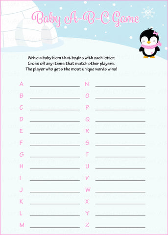 Baby ABC Game - Printable Download - Pink Penguin Winter Baby Shower Game - B22005