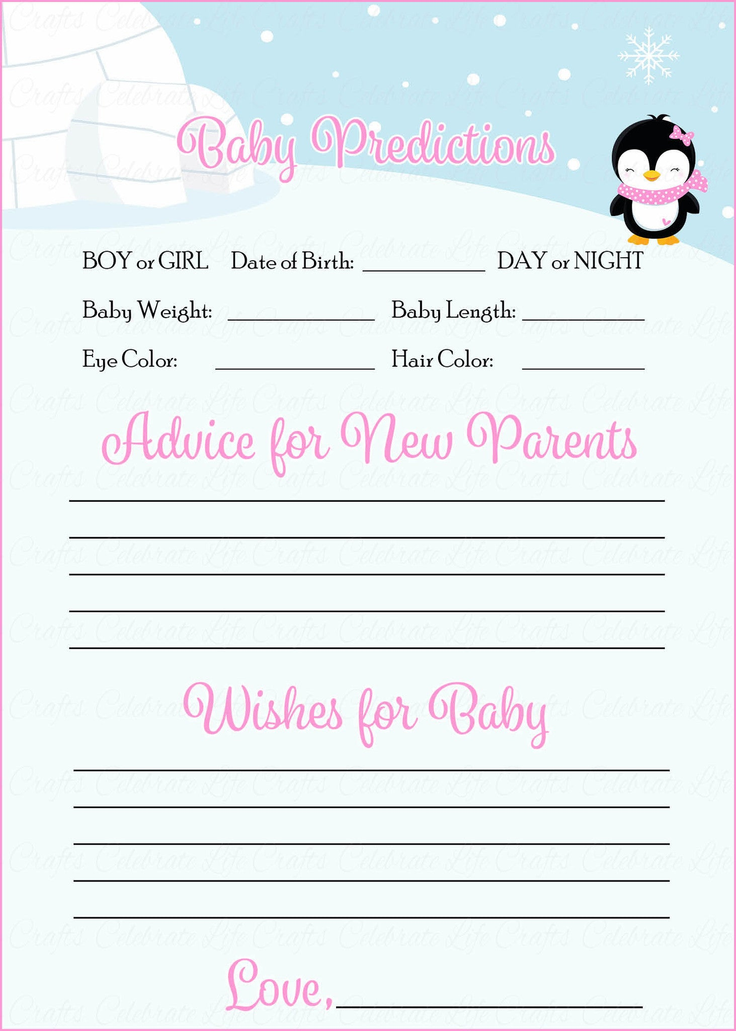 Prediction & Advice Baby Shower Activity Winter Baby Shower