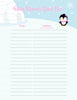 Baby Shower Guest List Set - Printable Download - Pink Penguin Winter Baby Shower Decorations - B22005
