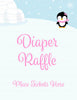 Diaper Raffle Tickets - Printable Download - Pink Penguin Winter Baby Shower Invitation Inserts - B22005