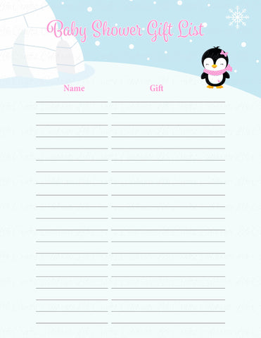 Baby Shower Gift List Set - Printable Download - Pink Penguin Winter Baby Shower Decorations - B22005