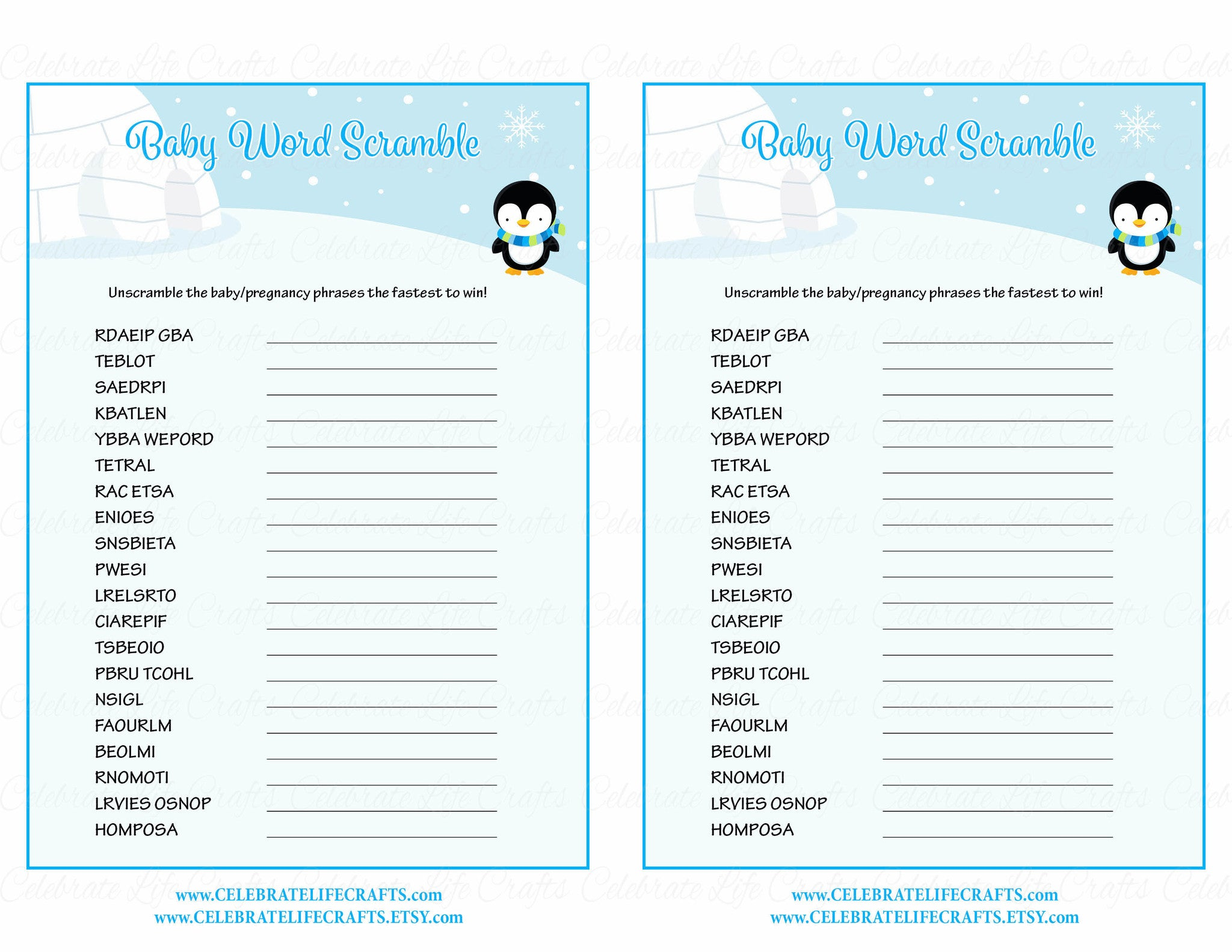 photo relating to Free Printable Baby Shower Games Word Scramble With Answer Key known as Child Term Scramble - Printable Obtain - Blue Penguin Wintertime Youngster Shower Activity - B22006