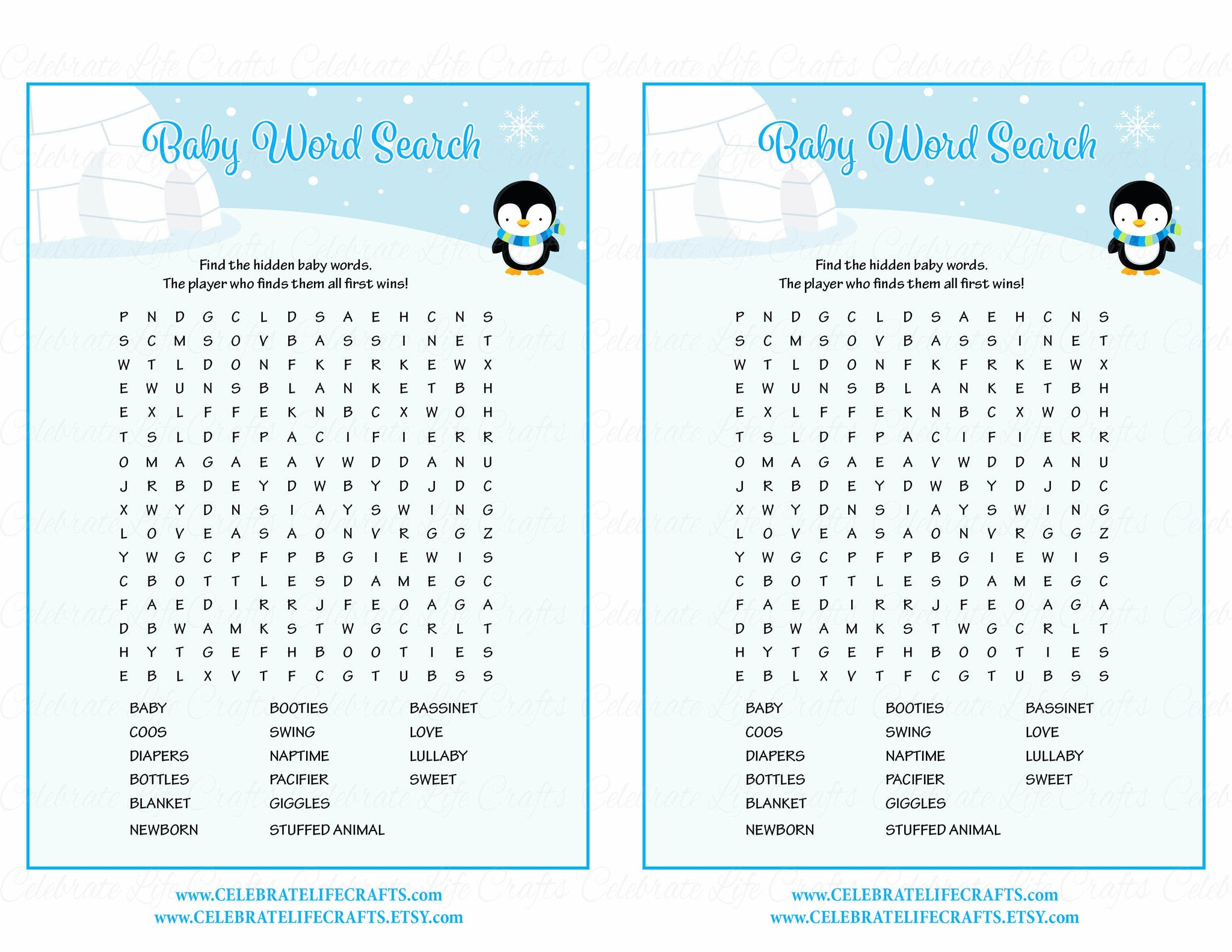 picture regarding Winter Word Search Printable called Little one Term Look - Printable Obtain - Blue Penguin Wintertime Youngster Shower Video game - B22006