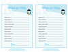 Wishes for Baby Cards - Printable Download - Blue Penguin Winter Baby Shower Activity - B22006