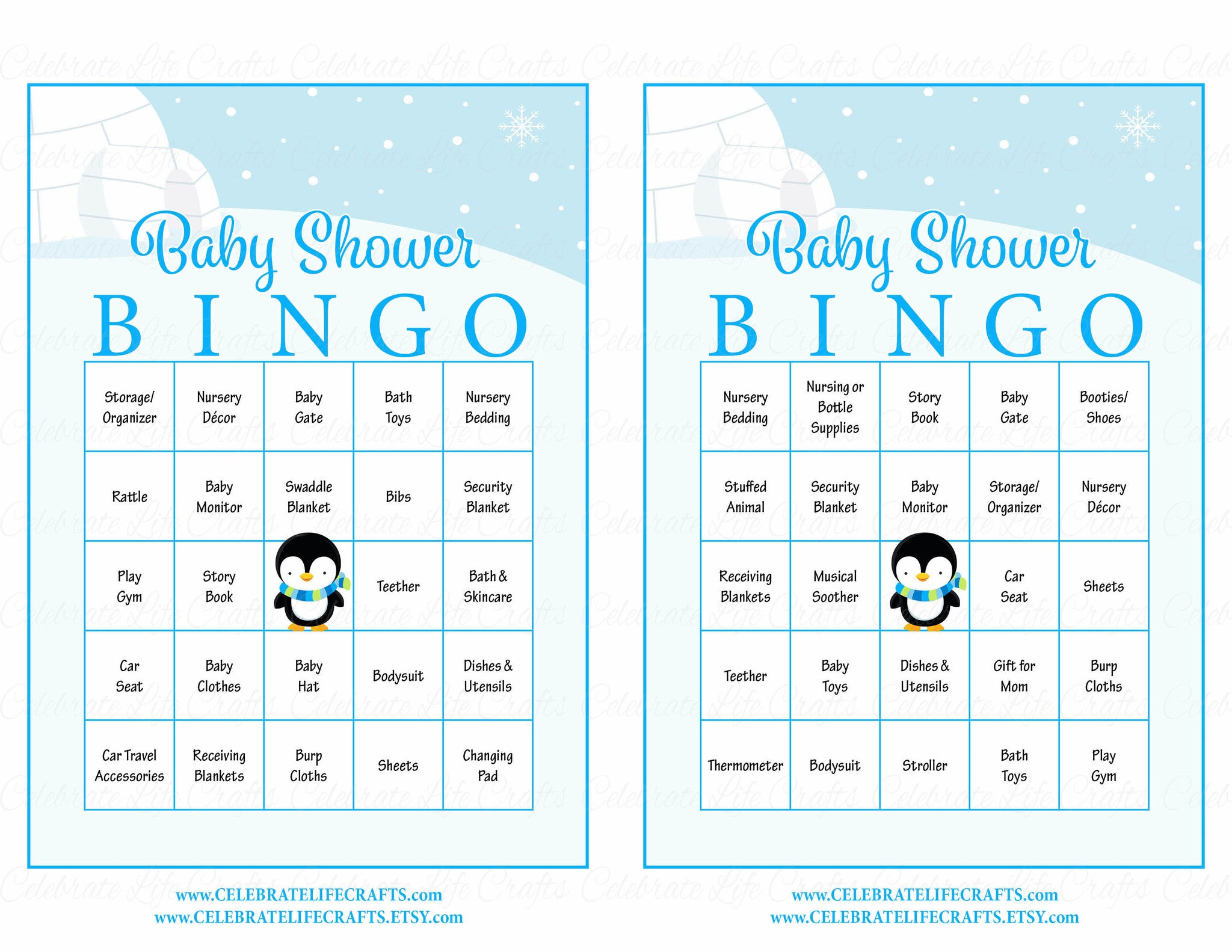 image relating to Baby Bingo Free Printable named Winter season Boy or girl Bingo Playing cards - Printable Obtain - Prefilled - Child Shower Activity for Boy - Blue Penguin