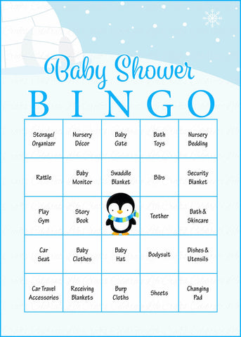Winter Baby Bingo Cards - Printable Download - Prefilled - Baby Shower Game for Boy - Blue Penguin