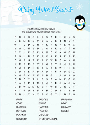 Baby Word Search - Printable Download - Blue Penguin Winter Baby Shower Game - B22006