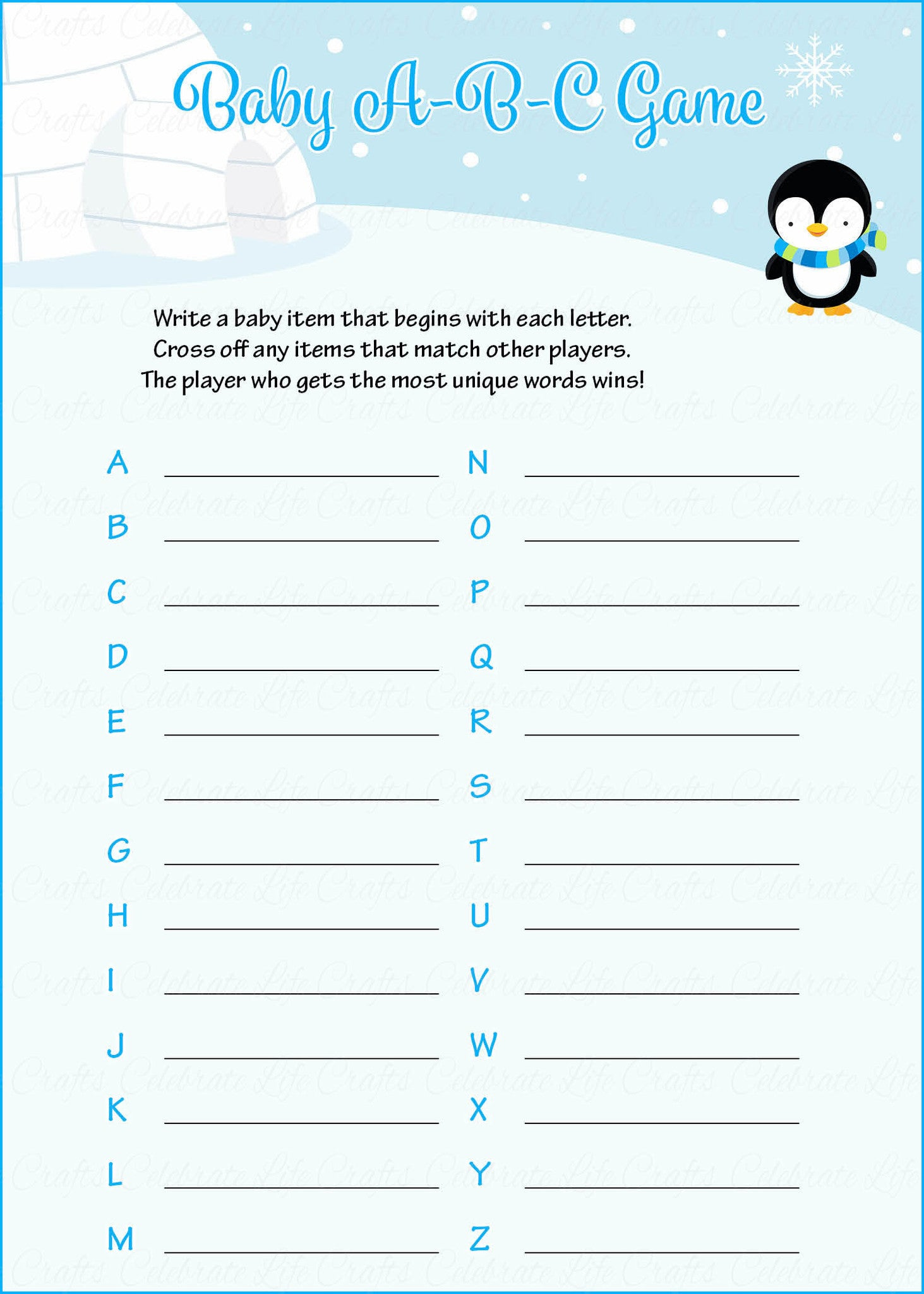Baby ABC Game   Printable Download   Blue Penguin Winter Baby Shower Game    B22006.