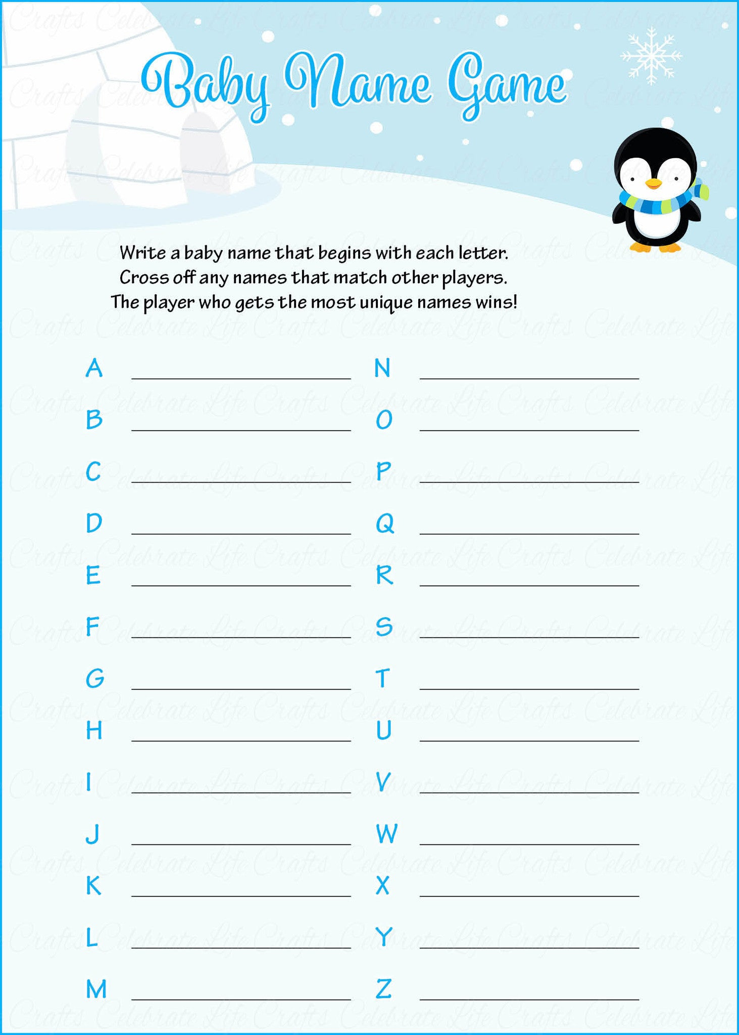 Baby Name   Printable Download   Blue Penguin Winter Baby Shower Game    B22006.