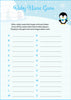 Baby Name - Printable Download - Blue Penguin Winter Baby Shower Game - B22006