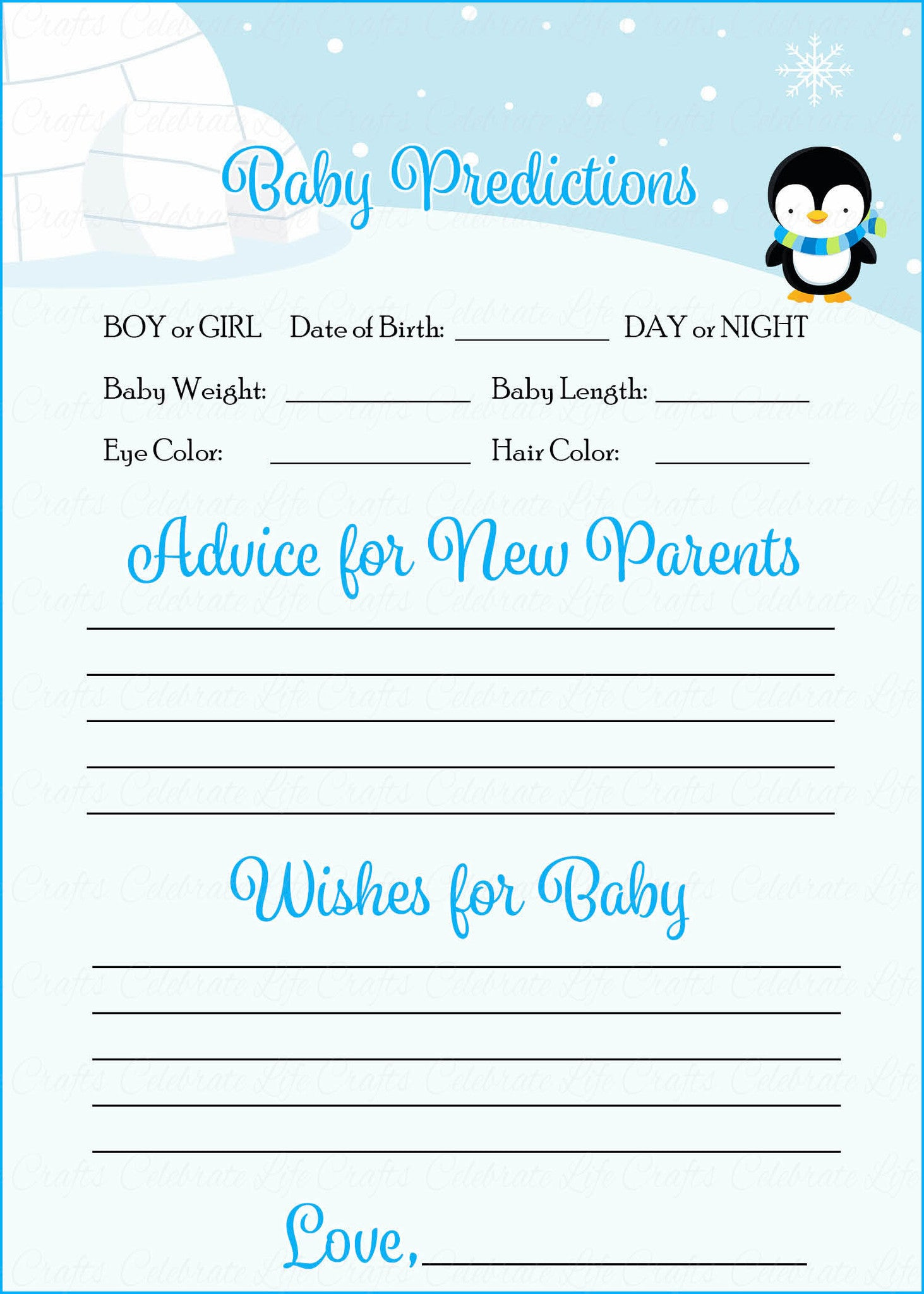 picture about Baby Shower Cards Printable known as Prediction Tips Playing cards - Printable Down load - Blue Penguin Wintertime Child Shower Recreation - B22006