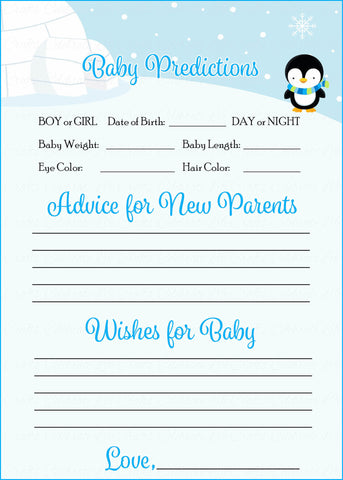 Prediction & Advice Cards - Printable Download - Blue Penguin Winter Baby Shower Activity - B22006