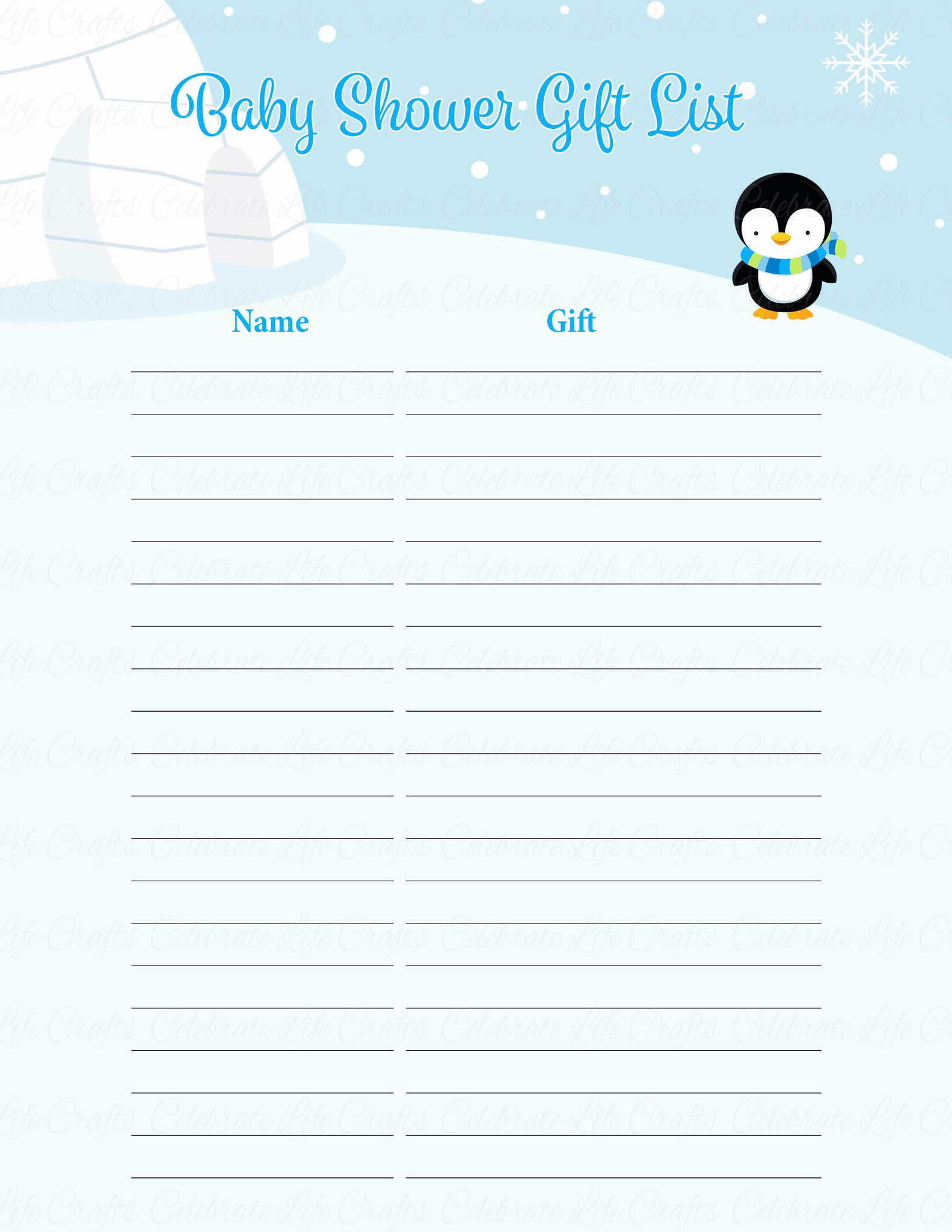 Baby Shower Gift List Printable Baby Shower Ideas