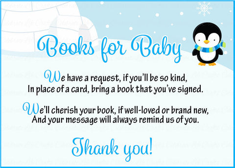 Books for Baby Cards - Printable Download - Blue Penguin Winter Baby Shower Invitation Inserts - Blue Penguin Winter - B22006