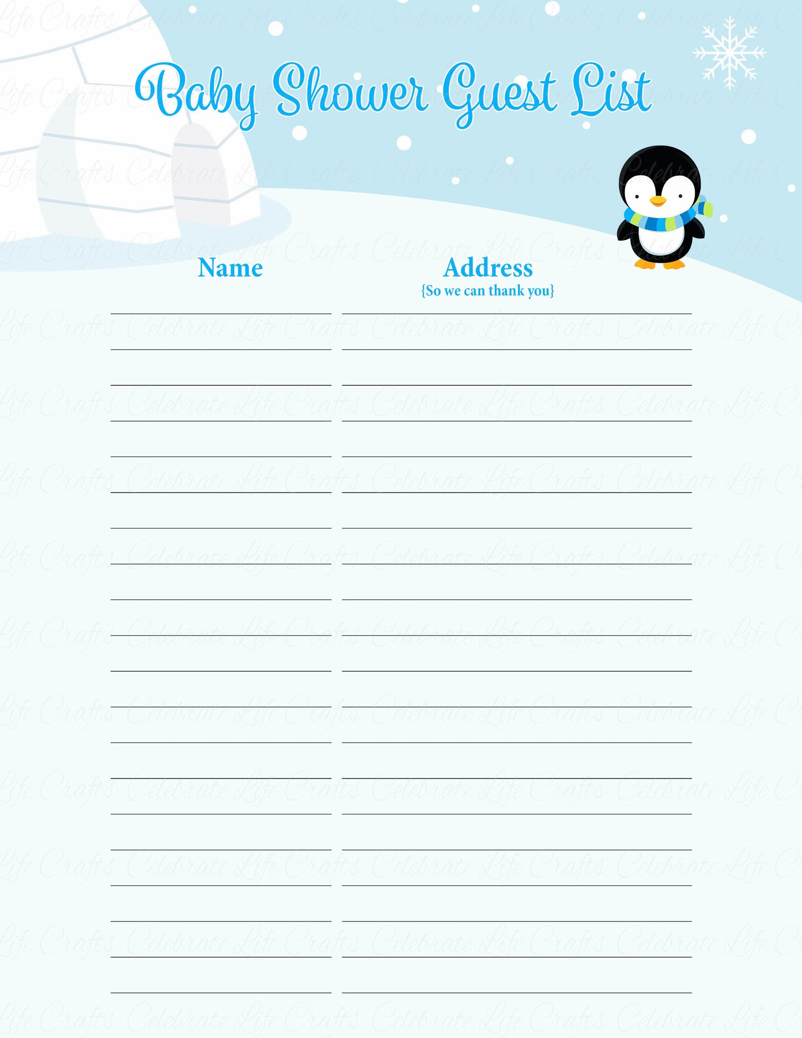 ... Baby Shower Guest List Set   Printable Download   Blue Penguin Winter Baby  Shower Decorations    Printable Baby Shower Guest List