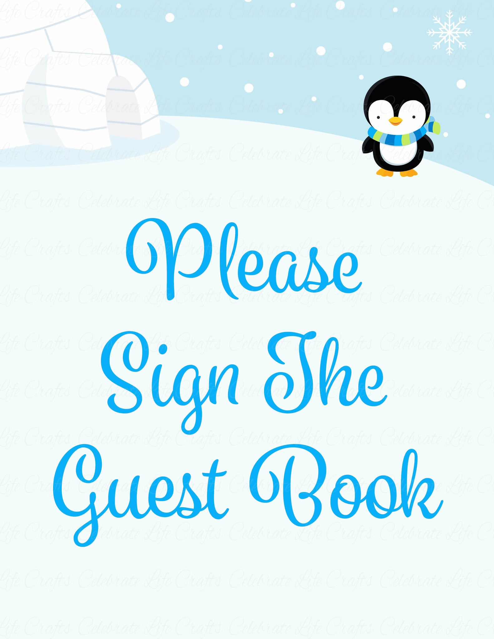 Baby Shower Guest List Set   Printable Download   Blue Penguin Winter Baby  Shower Decorations   B22006.