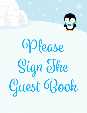 Baby Shower Guest List Set - Printable Download - Blue Penguin Winter Baby Shower Decorations - B22006