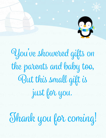 Thank You Favor Sign - Printable Download - Blue Penguin Winter Baby Shower Decorations - B22006