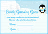 Candy Guessing Game - Printable Download - Blue Penguin Winter Baby Shower Game - B22006