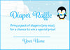 Diaper Raffle Tickets - Printable Download - Blue Penguin Winter Baby Shower Invitation Inserts - B22006