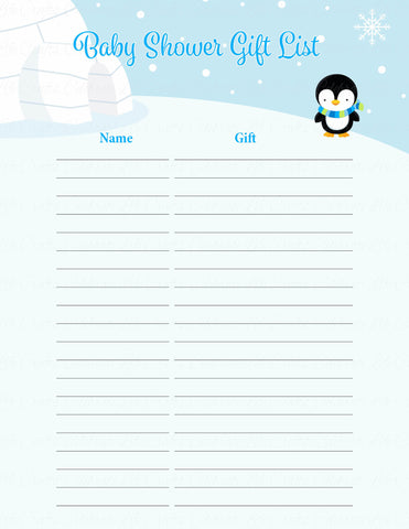 Baby Shower Gift List Set - Printable Download - Blue Penguin Winter Baby Shower Decorations - B22006